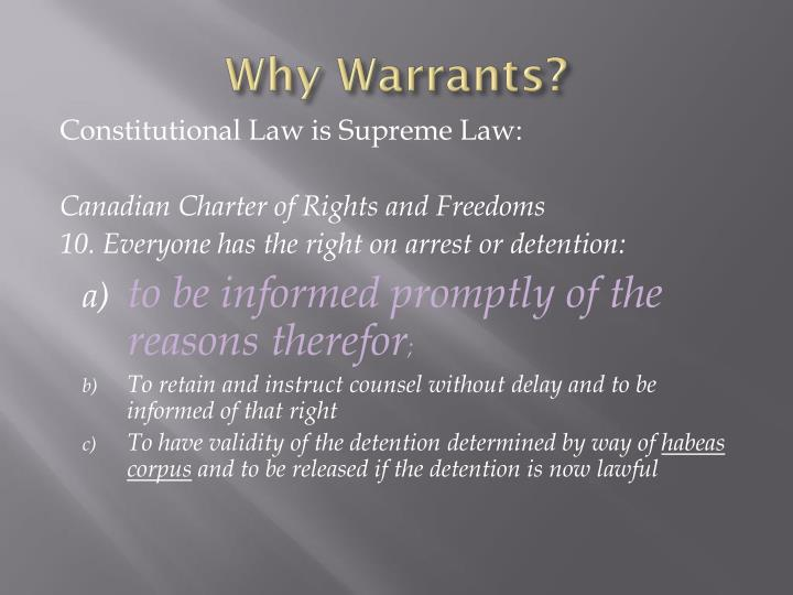 Why Warrants?