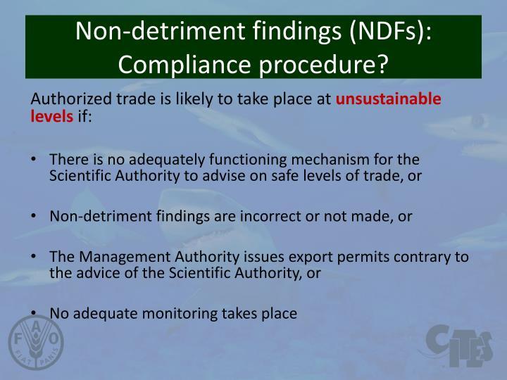 Non-detriment findings (