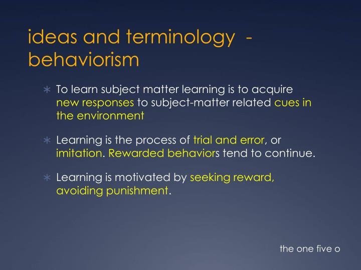 ideas and terminology
