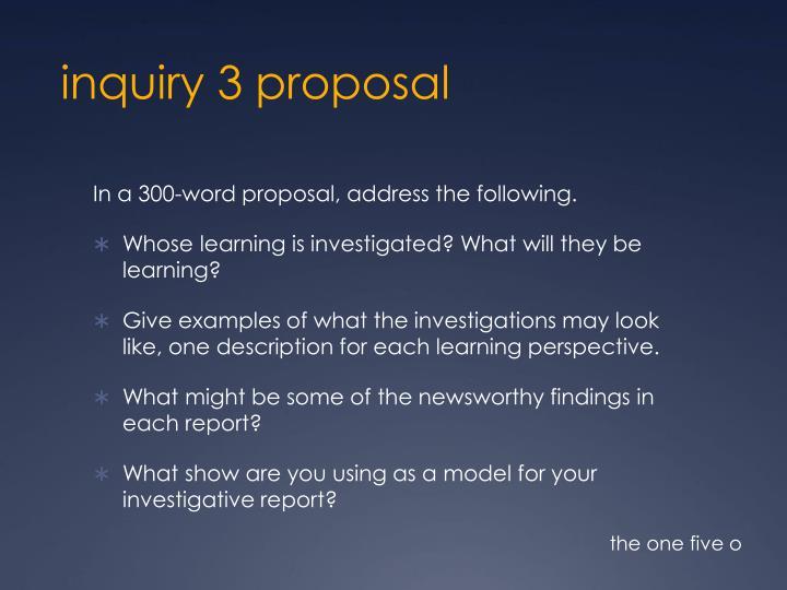 inquiry 3 proposal