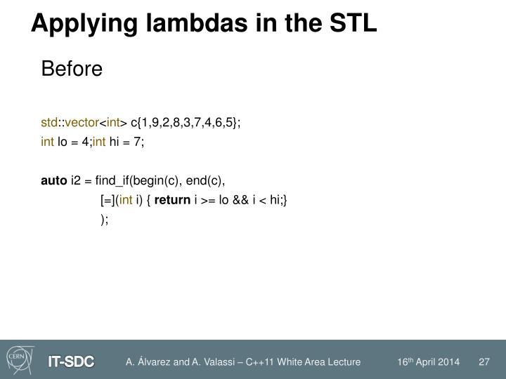 Applying lambdas in the STL