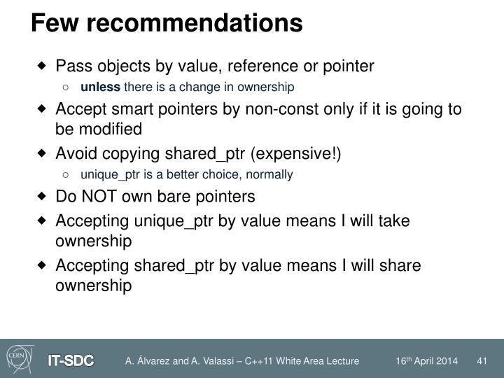 Few recommendations