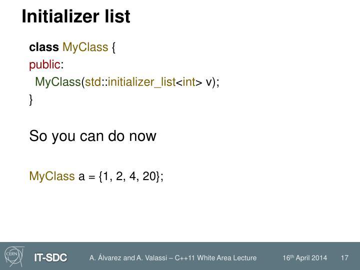 Initializer list