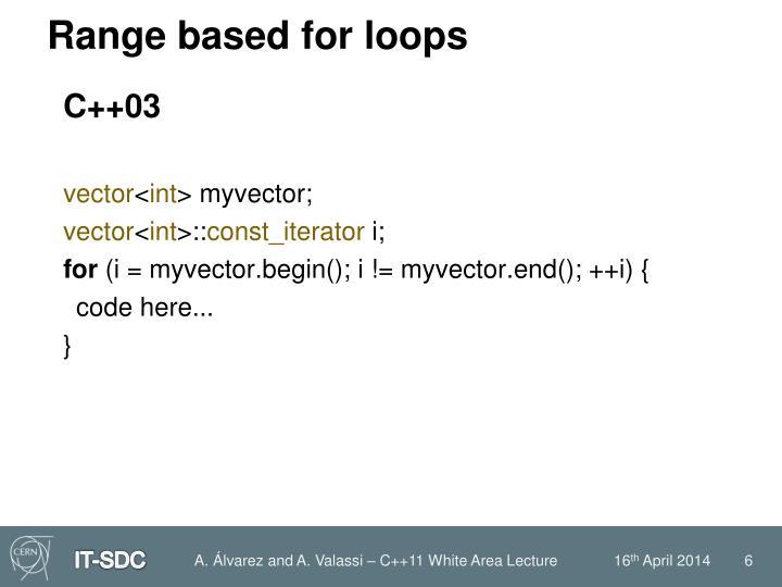 Range based for loops