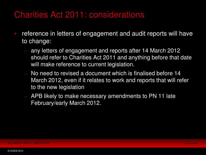 Charities Act 2011: considerations