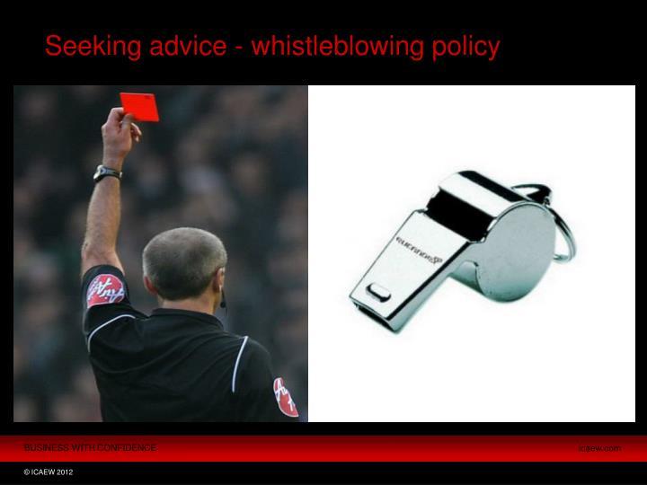 Seeking advice - whistleblowing policy