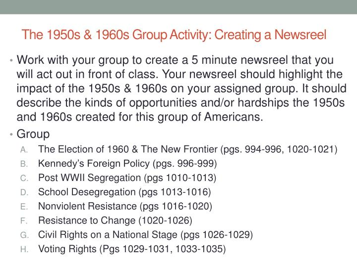 The 1950s & 1960s Group Activity: Creating