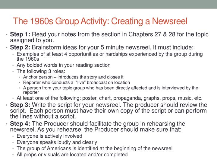 The 1960s Group Activity: Creating