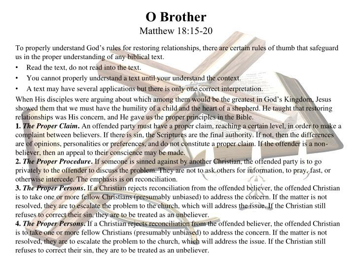O brother matthew 18 15 20