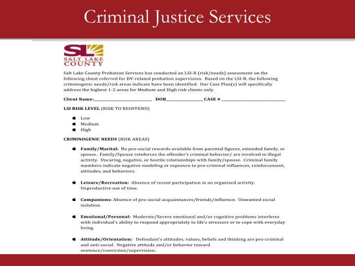 Criminal Justice Services