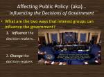 affecting public policy aka influencing the decisions of government