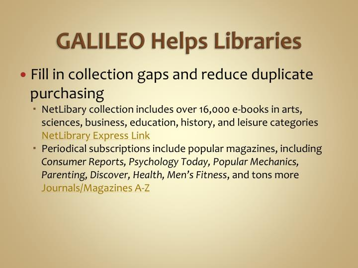 Galileo helps libraries
