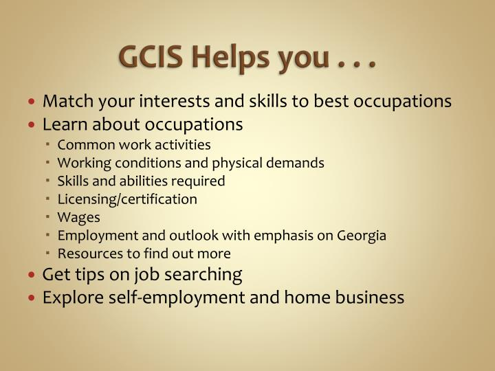 GCIS Helps you . . .