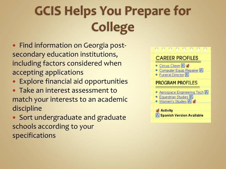 GCIS Helps You Prepare for College