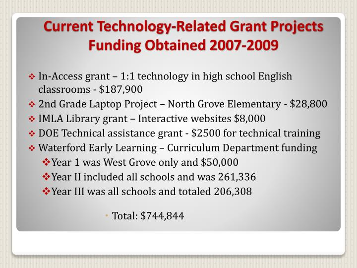 In-Access grant – 1:1 technology in high school English classrooms - $187,900