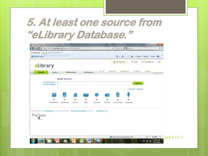"""5. At least one source from """"eLibrary Database"""