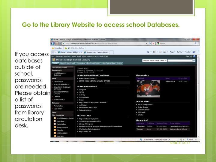Go to the Library Website to access school Databases.