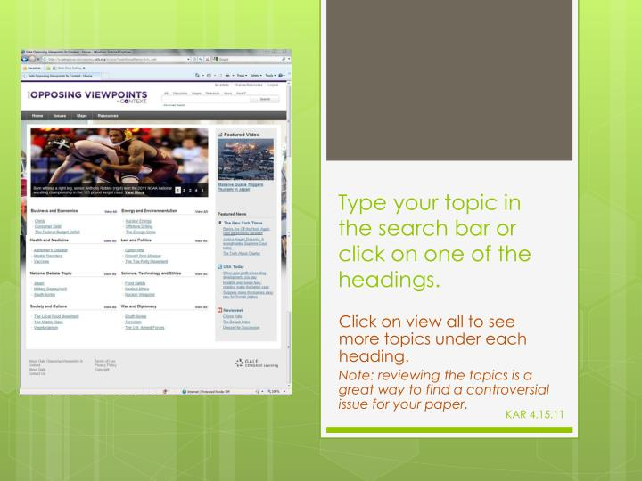 Type your topic in the search bar or click on one of the