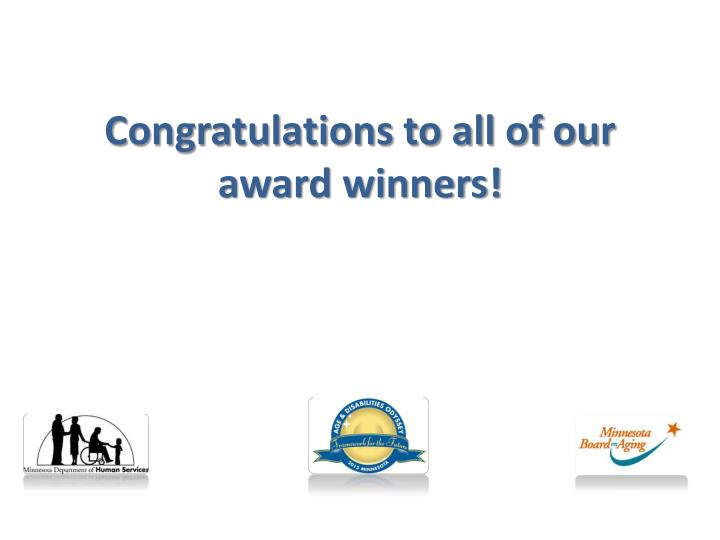 Congratulations to all of our award winners!