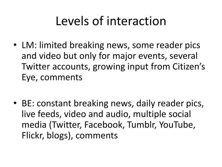 Levels of interaction