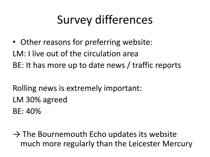 Survey differences