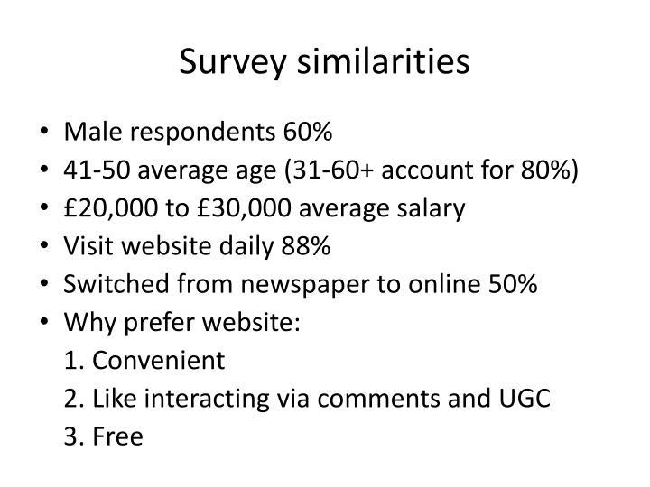 Survey similarities