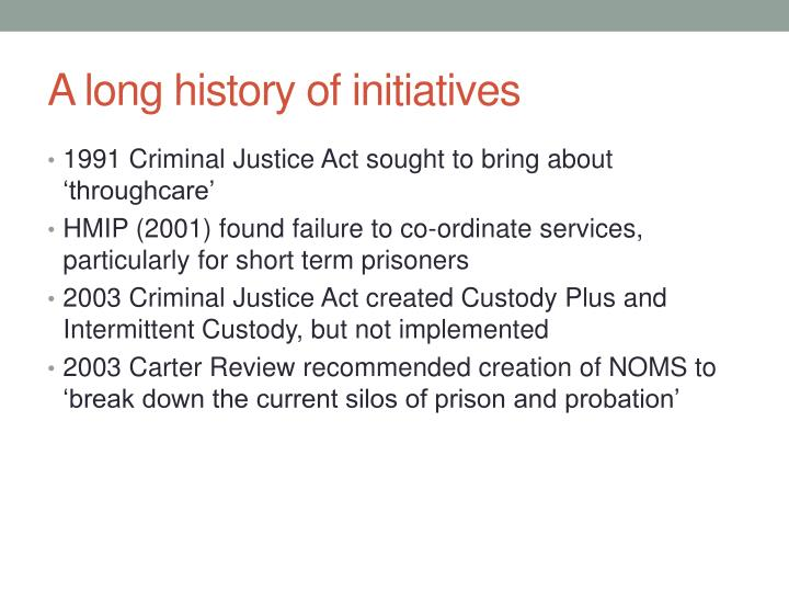 A long history of initiatives