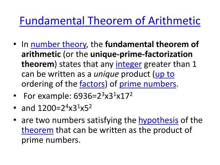 Fundamental Theorem of Arithmetic