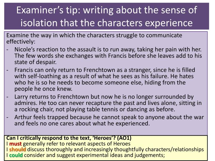 Examiner's tip: writing about the sense of isolation that the characters experience