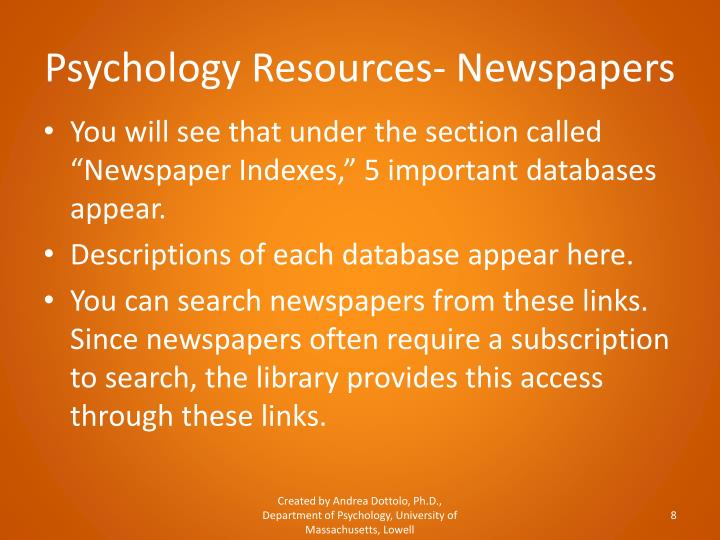 Psychology Resources- Newspapers
