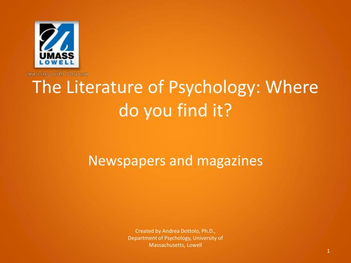 The Literature of Psychology: Where do you find
