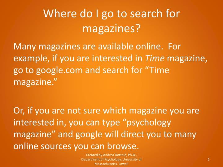 Where do I go to search for magazines?