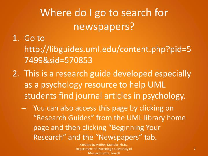 Where do I go to search for newspapers?