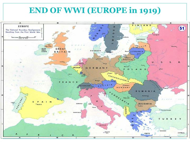 END OF WWI (EUROPE in 1919)