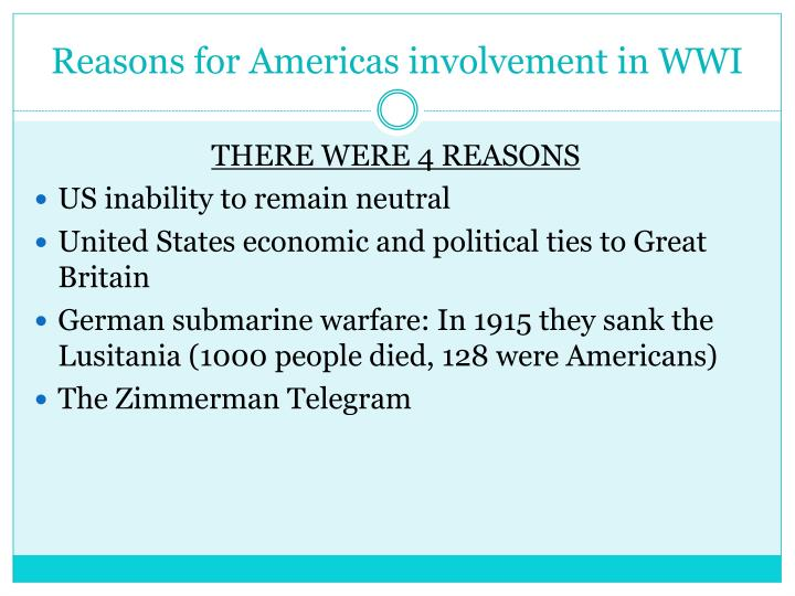 Reasons for Americas involvement in WWI