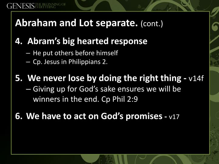Abraham and Lot separate.