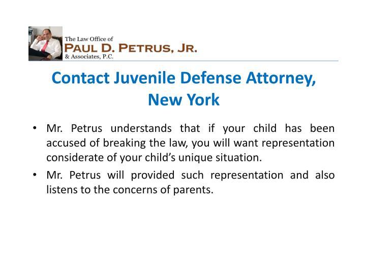 Contact Juvenile Defense Attorney, New York