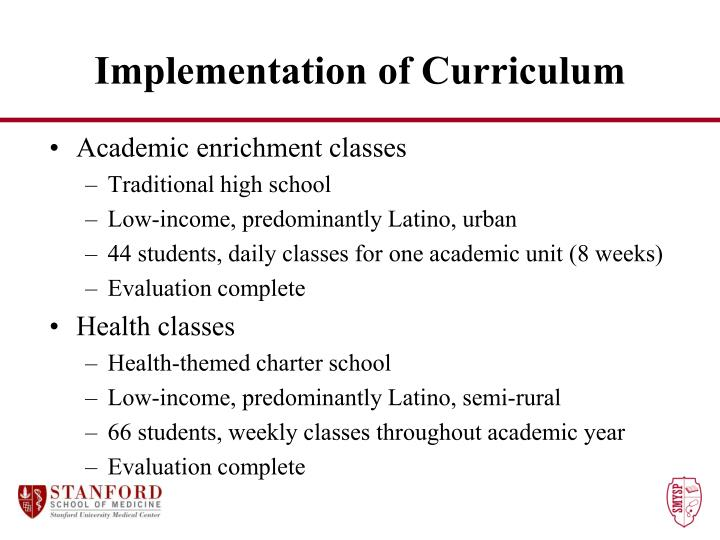 Implementation of Curriculum