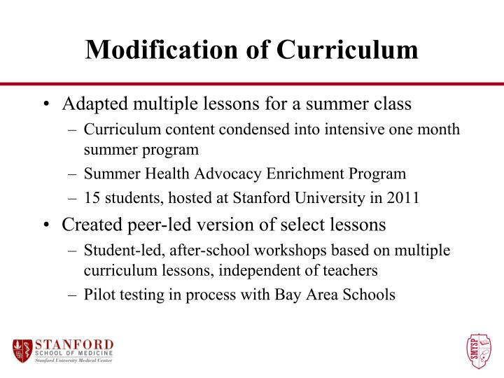 Modification of Curriculum