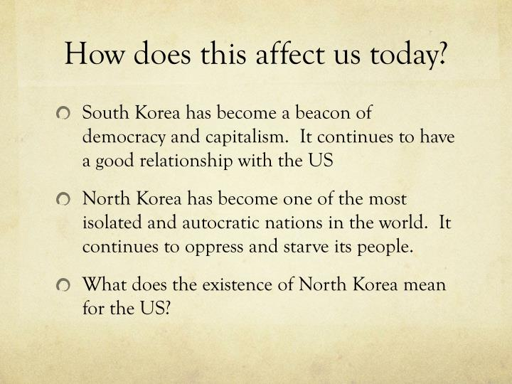 How does this affect us today?
