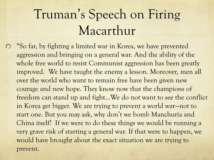 Truman's Speech on Firing Macarthur