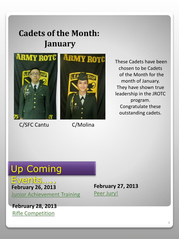 Cadets of the Month: