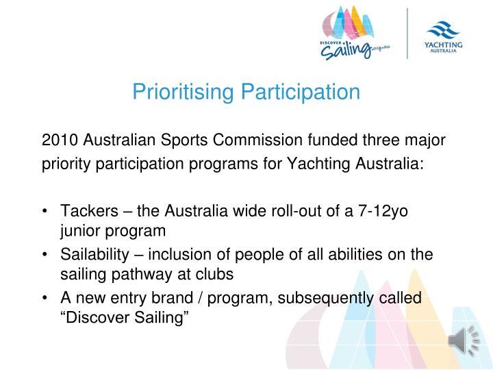 Prioritising Participation