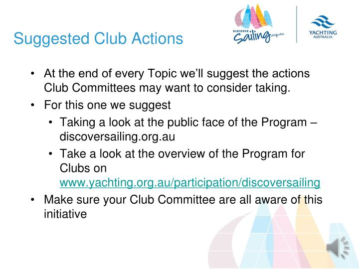 Suggested Club Actions