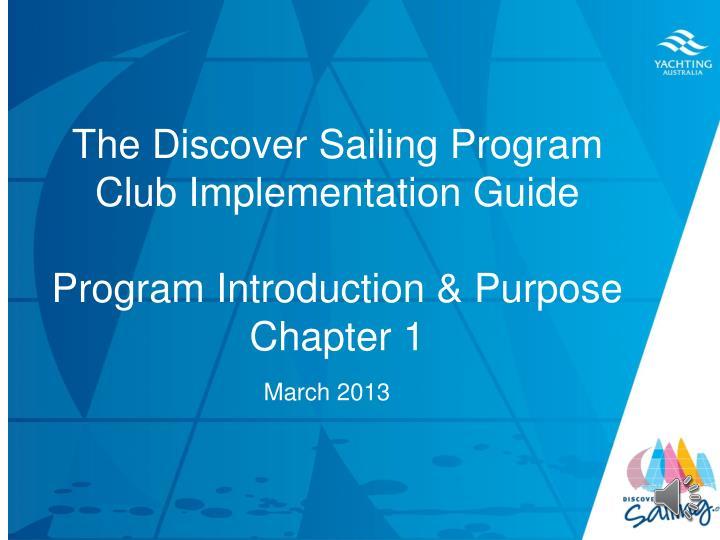 The Discover Sailing Program