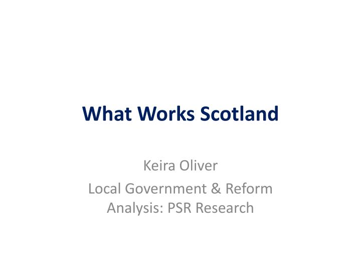 What Works Scotland
