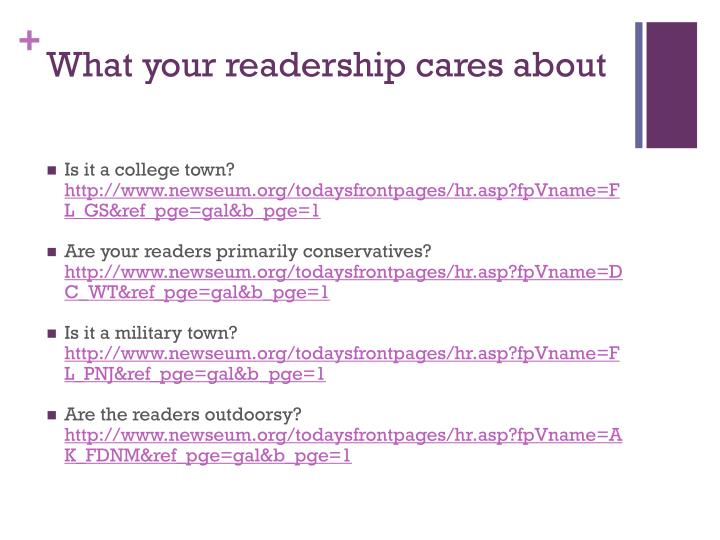 What your readership cares about