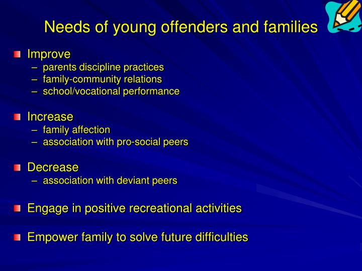Needs of young offenders and families