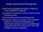 quality assessment critical appraisal