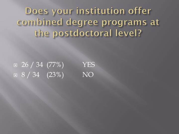 Does your institution offer combined degree programs at the postdoctoral level?